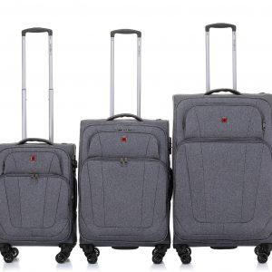 סט 3 מזוודות רכות קלות חזקות ואיכותיות SWISS ALPS
