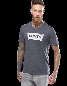 חולצת טישרט ליוייס בצבע אפור כהה עם לוגו גדול של המותג בצבע לבן LEVIS
