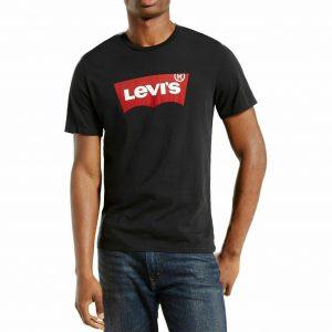 חולצת טישרט ליוייס בצבע שחור עם לוגו גדול של המותג בצבע אדום