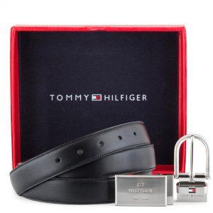 סט חגורה של TOMMY HILFIGER טומי הילפיגר אבזם כפול חגורה מתחלפת חום ושחור